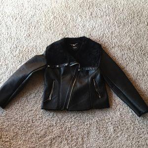 Bebe Moto Jacket with Fur lining